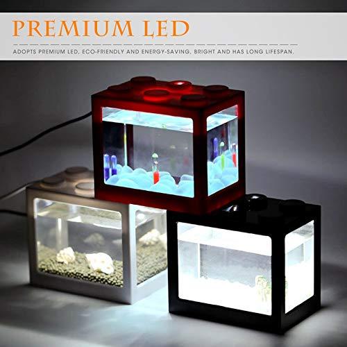 Eye eye 6 Farbe Mini Aquarium USB LED Licht Aquarium, Home Office Couchtisch Dekoration Kleine Baustein Aquarium (Farbe : Blau) - Couchtisch Blauer