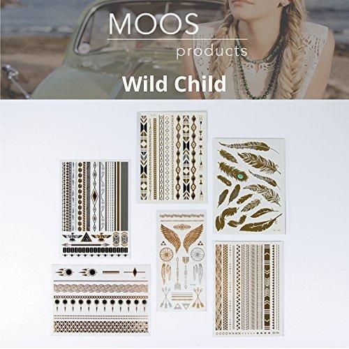 moosproducts-6blatter-metallic-hochwertigen-gold-silber-temporare-tattoo-korperkunst-wildes-kind
