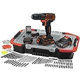 BLACK+DECKER BDCDC18BAST-QW Perceuse-Visseuse sans fil - 30 Nm - 650 trs/min - 2 Batteries - 160 accessoires - Livrée en organisateur, 18V