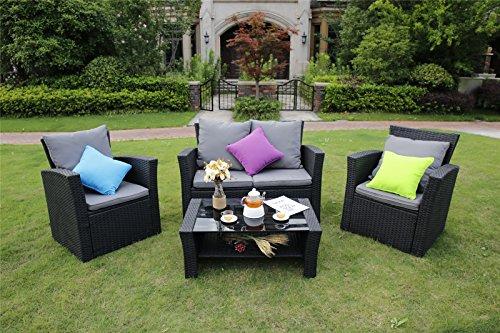 Mobili Da Giardino In Rattan : Yakoe 4 piece lotus gamma rattan mobili da giardino veranda patio