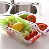 #5: Woogor 2 Pcs Plastic Fridge Storage Basket Storage Rack Space Saver Shelve