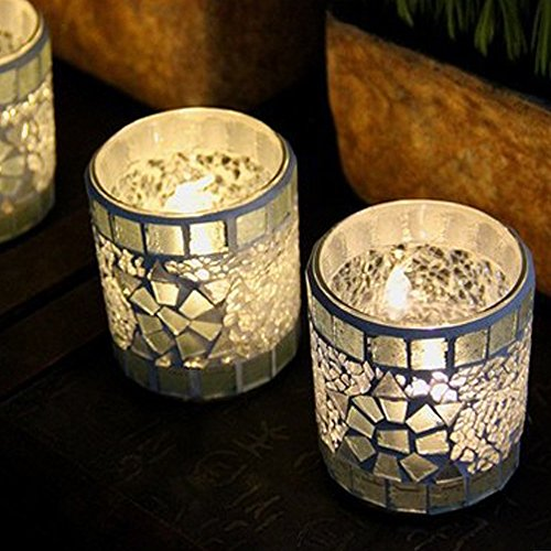 Sansee Simple Modern Handmade Silver Mosaic Glass Candlestick Tea Light Candle Holders Home Props