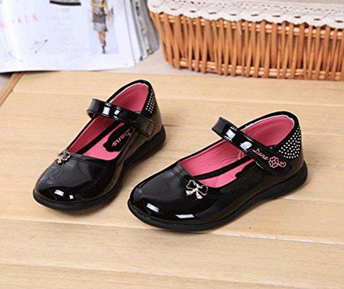 Brinny Enfants shoes fille Princesse Chaussures en Cuir Printemps Vernis Leather Faux Diamant Plat Single Chaussures Fleur Décoration Noir / Pink Taille: 26-34 Noir