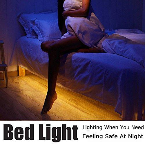 Bewegung aktiviert Bett Licht, Vansky® flexible LED-Streifen Bewegungssensor Nachtlicht Nachttischlampe Beleuchtung mit automatischer Abschaltung Timer (Warmweiß)