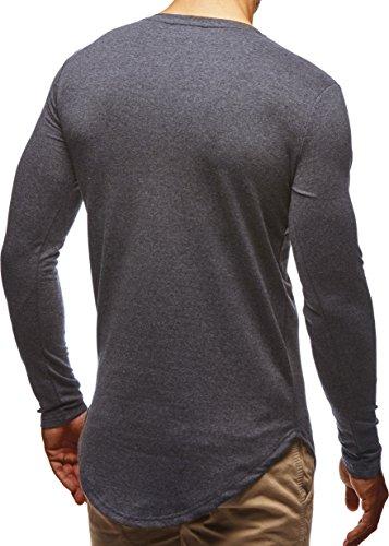 LEIF NELSON Herren Basic Pullover Hoodie Sweatshirt Longsleeve Rundhals Langarm Sweater Shirt Hoody LN6367 Anthrazit