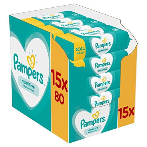 Pampers - Sensitive - Lingettes Bébé- Lot de 15 Paquets de 80 (1200 Lingettes)