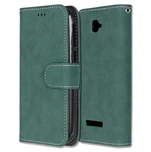 Alcatel One Touch Pop C7 Hülle, Chreey Matt Leder Tasche Retro Handyhülle Magnet Flip Case mit Kartenfach Geldbörse Schutzhülle Etui [Grün]