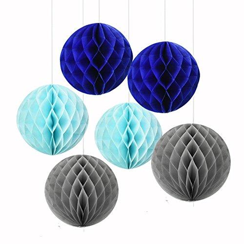 6gemischte Royal Blau Hellblau Tissue Papier, Kugel, mit Waben Boy Baby Dusche Geburtstag Hochzeit Party Kinderzimmer Mobile zum Aufhängen Dekoration (Royal Blue-baby-dusche Dekorationen)