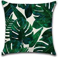 Leisial Funda de Cojín Almohada Algodón de Lino Plantas Tropicales Decorativos para Hogar Sofá Cama Coche 45*45cm