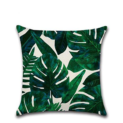 CAOLATOR Baumwolle Kissenbezüge Tropische Pflanzen Blätter Dekorative Setzen Fall Sofa Kissenbezug 45 * 45cm (#16) - Baumwolle Blatt
