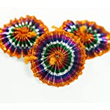Embroiderymaterial Gota Patti Flowers Appliques Patches for Embroidery Decoration and Craft Making, Rainbow Color, 100 Pieces