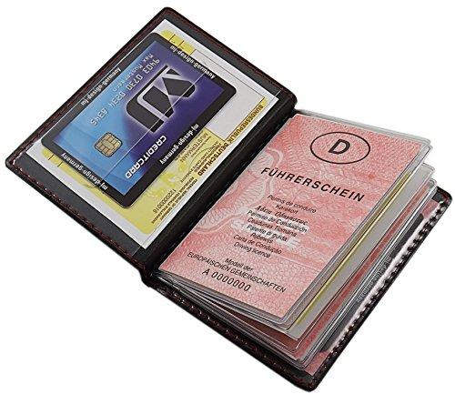 Porta carte d'identità e carte di credito con 12 scomparti MJ-Design-Germany Made in UE in diversi colori e designs (Design 1 / Nero) Design 4 / Nero