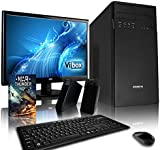 """VIBOX Tower Desktop PC Package 1 - with Windows 10 OS, WarThunder Game Bundle, 19"""" Monitor, Speakers, Keyboard & Mouse (3.9GHz AMD A4 Dual Core Processor, Radeon Graphics Chip, 1TB Hard Drive, 8GB RAM)"""