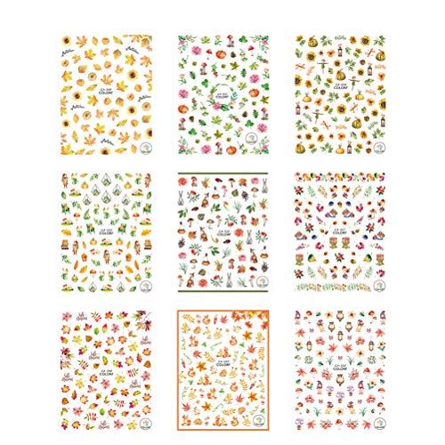 Frcolor 9 fogli ringraziamento nail art stickers tatuaggio decalcomanie autoadesive autunno autunno zucca foglie di acero pigne girasoli ringraziamento decorazione unghie
