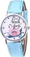 Jipai(TM) Women Flamingo Print Dial Quartz Analog Watch Comfortable PU Leather Band Casual Wrist Watch