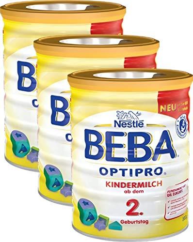 Nestlé Beba Optipro Kindermilch Pulver ab dem 2. Geburtstag, für eine altersgerechte Ernährung, Milchgetränk mit den Vitaminen A, C und D 3er Pack (3 x 800g)