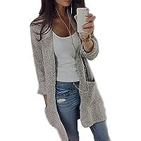 Abrigos Mujer Elegantes Mujeres Cárdigan de Punto Rebeca Tejida a Cuadros Manga Larga Tartán Cosida Abierto Suéter Chaqueta Tipo Cardigan de Punto para Mujer QINGXIA_ZI
