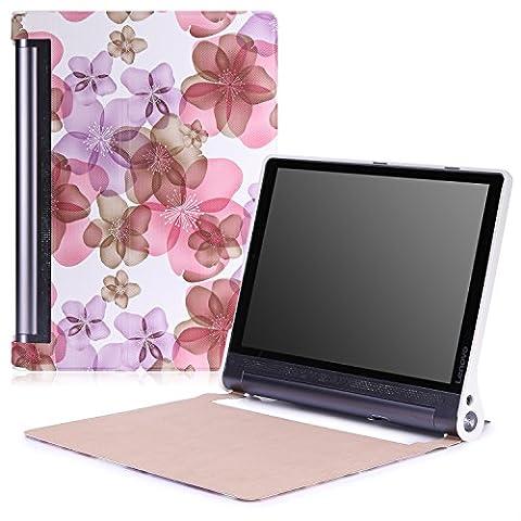 MoKo Etui Lenovo Tab 3 Pro - étui Flip ultra mince et léger pour Tablette Lenovo Yoga Tab 3 Pro 10.1 Pouces, Floral
