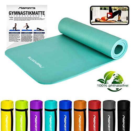 MSPORTS Gymnastikmatte Premium inkl. Tragegurt + Übungsposter + Workout App GRATIS I Fitnessmatte Cyan - 190 x 60 x 1,5 cm Hautfreundliche Phthalatfreie Yogamatte