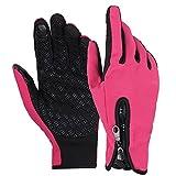 BOZEVON Wasserdichte Winddicht Skihandschuhe, Herren & Damen Winter Handschuhe für Außenaktivität (Rosa,M)