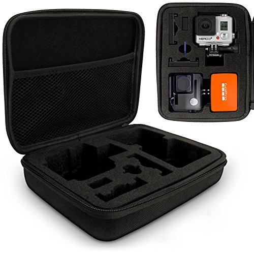 Optix Pro Große EVA Hartschale Reise Hülle Etui Reisverschluss & herausnehmbare Schaumstoffeinlagen für GoPro Hero5, Hero4, Hero3+, Hero3, Hero2 & Hero1 Action-Kameras (Gopro Hero1)