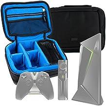 DURAGADGET Bolsa acolchada profesional negra con compartimentos para Android TV gaming - Nvidia Shield