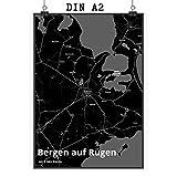 Mr. & Mrs. Panda Poster DIN A2 Stadt Bergen auf Rügen Stadt Black - Stadt Dorf Karte Landkarte Map Stadtplan Poster, Wandposter, Bild, Wanddeko, Wand, Fan, Fanartikel, Souvenir, Andenken, Fanclub, Stadt, Mitbringsel