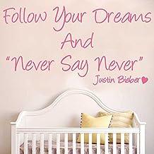 decorrooms Justin Bieber nunca digas nunca pared adhesivo niños dormitorio vinilo adhesivo Arte de Pared adhesivo