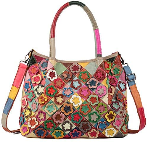 545e9743fc469 Yaluxe Women s Flower Stripe Genuine Leather Top Handle Tote Large Shoulder  Bag Multicolor