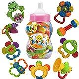 Baby Sonaglio Set di Massaggiagengive Baby's First Sonagli Baby's First Toys Set da Regalo per Bebè Neonato Newborn 9 PCS (Rosa)