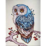 KAYI Peinture de diamant 5D à faire soi-même, motif Hibou sur la branche, Multi-plis, bleu/motifs chouettes, 8 x 12 Inch