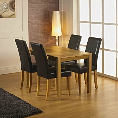 Santa Fe Dining Set 120cm Oak Veneer Dining Table with Four Stylish Chocolate Brown Faux Leather Chairs - ONLY £197 INCLUDING DELIVERY