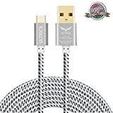 Micro USB Cable ULTRICS� Nylon Braided Charger Cable 10ft / 3M Tangle Free Sync Charge USB Android Charger Lead for Samsung Galaxy, Sony, Nokia, Microsoft, Motorola, Nexus, Huawei, LG, Xiaomi, OPPO - Lifetime Warranty, Money back Guarantee - White