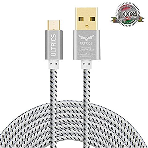 Micro USB Cable ULTRICS® Nylon Braided Charger Cable 10ft / 3M Tangle Free Sync Charge USB Android Charger Lead for Samsung Galaxy, Sony, Nokia, Microsoft, Motorola, Nexus, Huawei, LG, Xiaomi, OPPO - Lifetime Warranty, Money back Guarantee - White