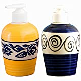 #5: Sforzi Handmade Ceramic handwash Liquid soap Dispenser/Shampoo Dispenser/Lotion Dispenser/Gel Dispenser - 250, 250 (Set of 2 dispensers) - SFR6288