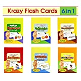 #7: Combo Set of 6 Krazy Flash cards (Domestic Animals+Transports+Vegetables+Fruits+ Numbers+Actions)