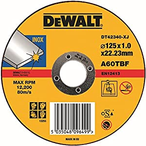 51GM5nZsM3L. SS300  - Dewalt - Disco abrasivo para cortar acero inoxidable plano 125x1x22,2 mm