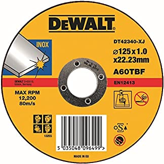 Dewalt – Disco abrasivo para cortar acero inoxidable plano 125x1x22,2 mm