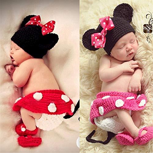 nfant Maus Kostüm Foto Fotografie Prop 0-3 Monate Neugeborenen rot (Farbe : Rose Rot) ()