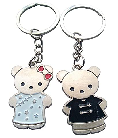 Couple Keychain Keyring Gift Set for Wedding, New House, Anniversary, Engagement (Teddy Bears)