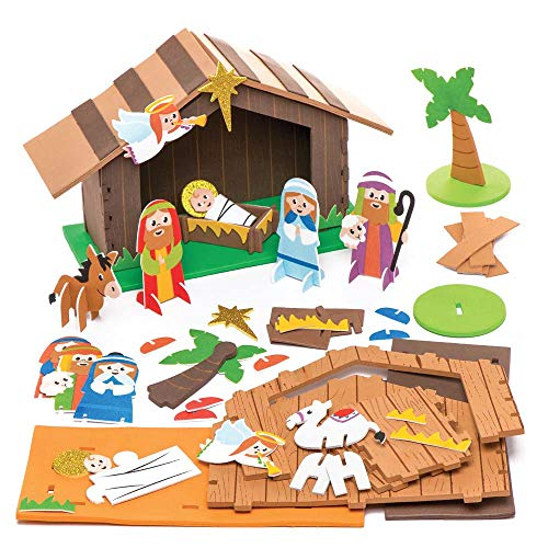 Baker ross kit in gommapiuma ar779 presepe con stalla (confezione da 2)- creativi articoli natalizi e artigianali per bambini da realizzare e decorare, multicolore