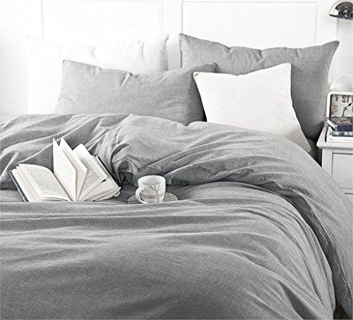 Gewaschen Baumwolle Chambray Bettbezug Farbe Casual modern Style Betten Set entspanntes Weiche Haptik natur Faltig Optik, baumwolle, grau, Twin (Grau Chambray Bettwäsche)