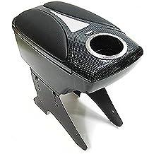 Boloromo 48011 Apoyabrazos Consola Central Reposabrazos Tuning Acolchado Soporte Caja de Consola Negro Carbón