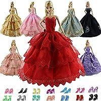 ZITA ELEMENT 12/15 Stück Puppenzubehör für Barbie Kleidung Hochzeitskleid Puppenkleider Partykleider Ballkleid Spitzenkleider Abendkleid Schuhe Kleiderbügel Handtasche