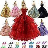 ZITA ELEMENT 15 Stück Handgefertigte Puppensachen für Barbie Puppe Ballkleid Hochzeitskleid Kleidung Abendkleid Kleider 5er Partykleider mit 10er Schuhe Mädchen Spielzeug