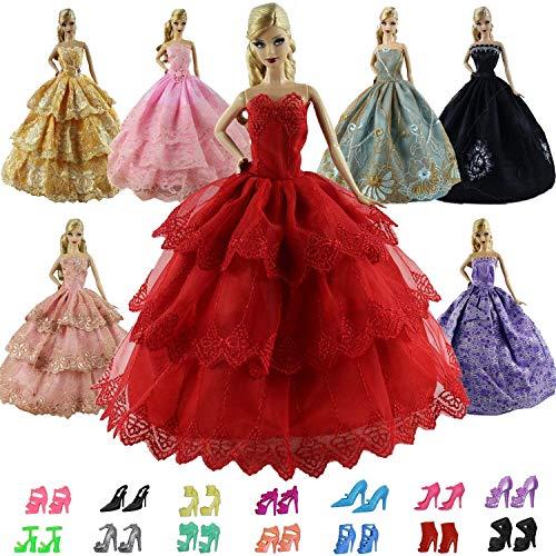 ck Handgefertigte Puppensachen für 11,5 inch Girl doll Puppe Ballkleid Hochzeitskleid Kleidung Abendkleid Kleider 5er Partykleider mit 10er Schuhe Mädchen Spielzeug ()
