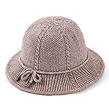 Hmmao Sombrero Sombrero De Punto De Otoño Invierno Punto Sra. Bow Sombrero De Lavabo De Color Sólido Sombrero De Pescador De Palomitas De Maíz