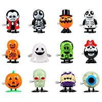 Twister.CK Halloween Pumpkin Ghost Skull Wind Up Toys, Funny Jumping Toys for Halloween Party Favor Goody Bag Filler (12 Pack)
