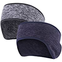 FengNiao Headband Ear Warmer for Women Men, 2PCS Premium Fleece Sports Headband with Full Cover Ear Muffs - Stretch to Size, Ideal for Ski/ Running/ Cycling/ Gym/ Daily Wear