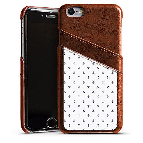 Apple iPhone 5s Housse Étui Protection Coque Ancre Motif Motif Étui en cuir marron